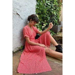 Urban Outfitters medium Midi Maxi Wrap Dress Red Floral Gabrielle